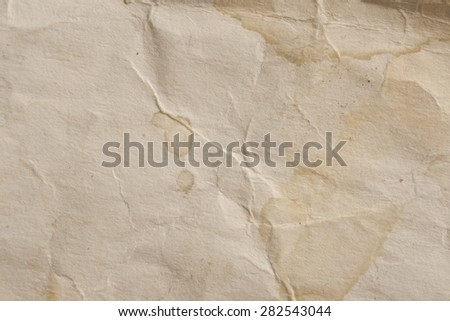 grunge vintage old paper sheet background or texture with space for Your text. Crumpled paper background. - stock photo
