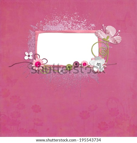 grunge vintage pink quickpage with flowers - stock photo