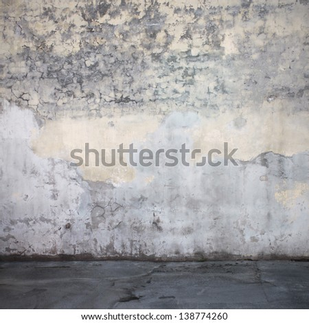 Grunge wall and floor interior - stock photo