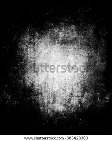 Grunge wall background, scratched dark texture with faded central area for your text or picture - stock photo