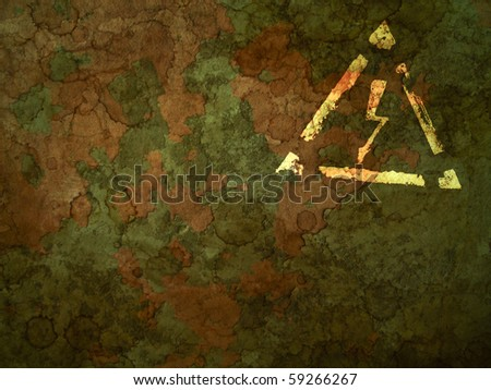 grunge wall background with old high voltage sign - stock photo