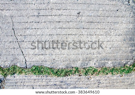grunge wall stone background or concrete texture and grass - stock photo