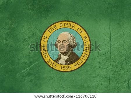 Grunge Washington state flag of America, isolated on white background. - stock photo