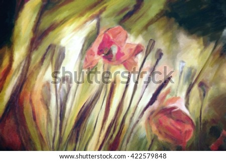 grunge watercolor abstract floral background with red poppies in colorful field  - stock photo