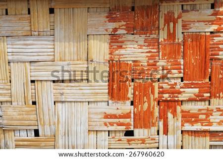 grunge weave bamboo wall background - stock photo