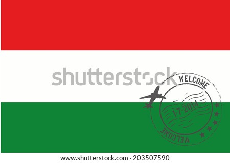 Grunge welcome rubber stamp with date on the flag of Hungary