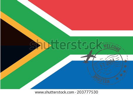 Grunge welcome rubber stamp with date on the flag of South Africa - stock photo