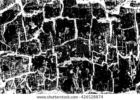 Grunge white and black cracked texture wall background - stock photo