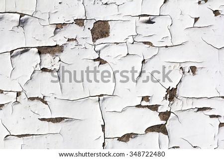 grunge white background - wood with cracked paint - stock photo