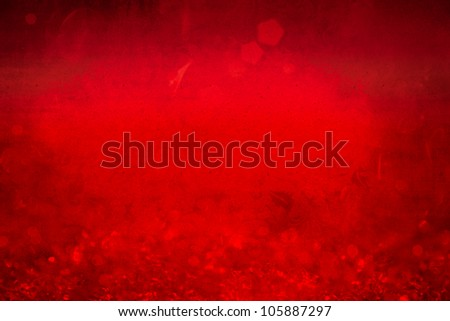 Grunge Winter Christmas Background With Sparkling Ice Crystals ~ Vintage Frozen Red Crimson Snow Flakes