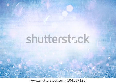 Grunge Winter Christmas Background With Sparkling Ice Crystals ~ Vintage Paper Frozen Aqua Turquoise Robins Egg Blue With White Frosty Snow Flakes