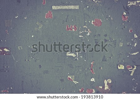 Grunge wood board background with textured pieces of paper - stock photo