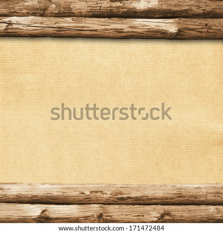 grunge wood frame background, vintage paper texture - stock photo