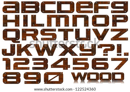 Grunge Wooden Letters and Numbers / Dark brown grunge wooden alphabet and numbers with screws on white background - stock photo