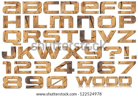 Grunge Wooden Letters and Numbers / Grunge wooden trunk alphabet and numbers with screws on white background - stock photo