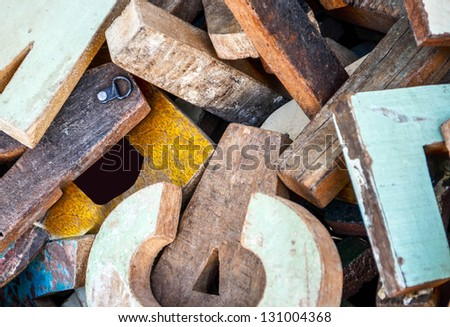 Grunge wooden letters background - stock photo