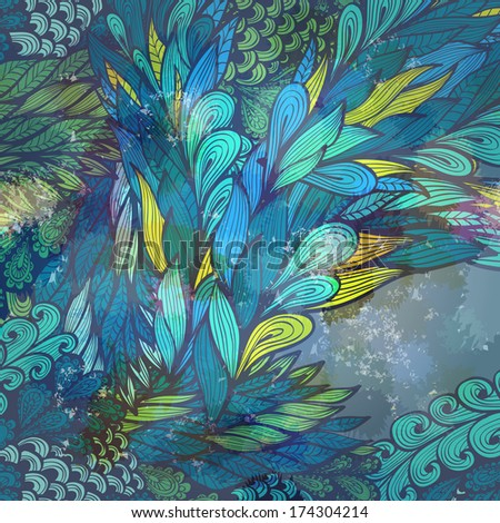 Grunge yellow and blue greeting card with abstract flowing hand drawn feathers. Raster version - stock photo