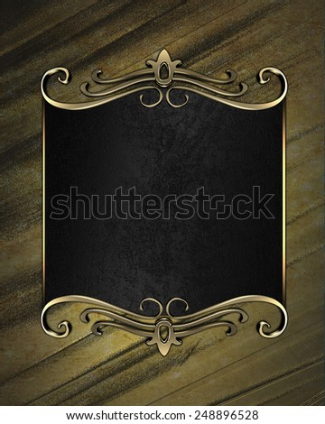 Grunge yellow background with a black plate with gold trim