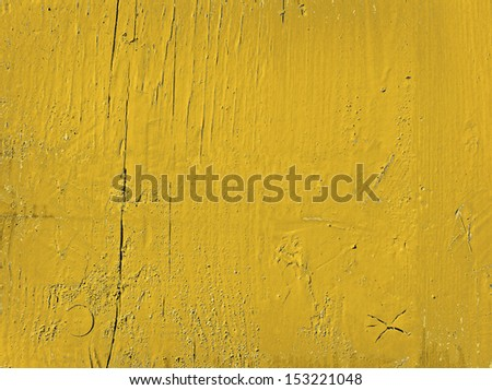 Grunge yellow painted wooden textured background - stock photo