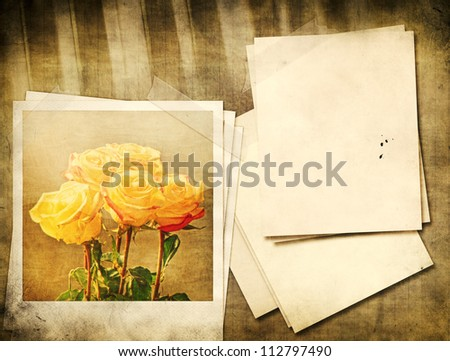 Grunge yellow roses and piano vintage background. - stock photo