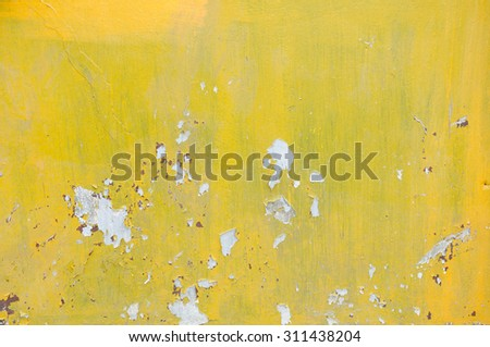 Grunge yellow wall texture - stock photo