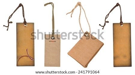 grungy aged paper tags with metal rivets and simple traditional strings, isolated on white background, highly detailed. Blank price tag - stock photo