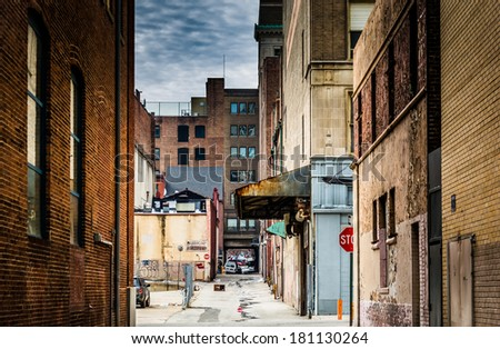 Grungy alley in downtown Baltimore, Maryland.