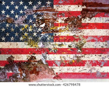 grungy american flag - stock photo
