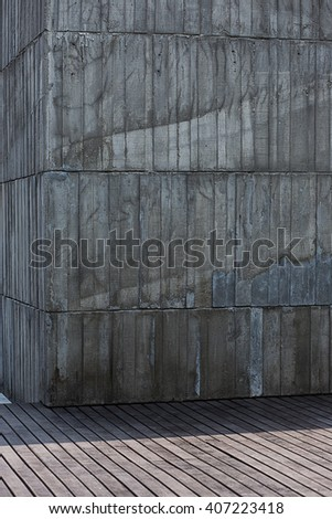 Grungy and smooth bare concrete wall. - stock photo