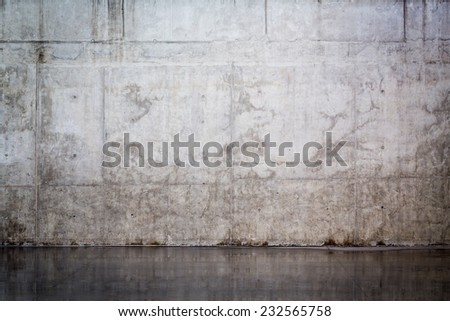 Grungy and smooth bare concrete wall for background - stock photo