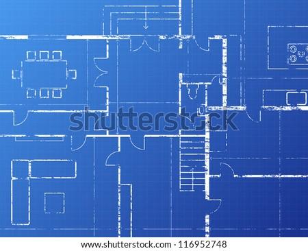 Grungy architectural blueprint illustration on blue background - stock photo