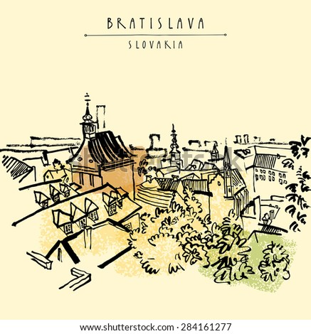 Grungy artistic illustration postcard with a touristic city view of Bratislava, Slovakia, Europe. Black ink brush line. Greeting card design template. Retro style sketch. Roofs, trees, sky