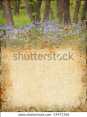 Grungy background with trees and wildflowers. - stock photo