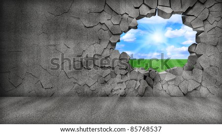 Grungy Broken Concrete Wall with beautiful landscape behind - stock photo
