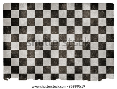 Grungy Checkered Flag on Vintage Paper