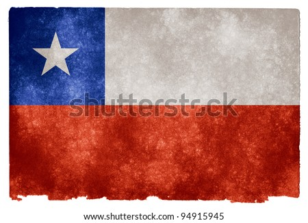 Grungy Chilean Flag on Vintage Paper - stock photo