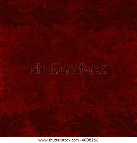 grungy christmas with holly background in dark red