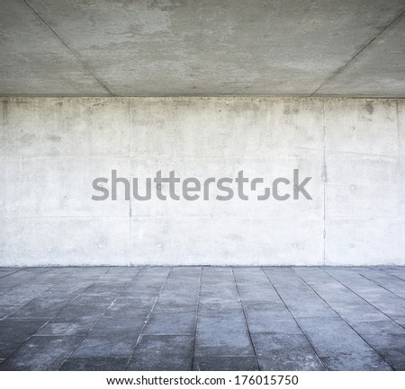 Grungy concrete wall and floor - stock photo