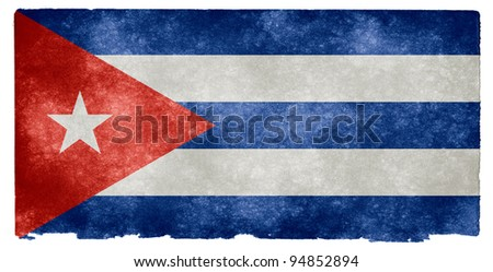 Grungy Cuban Flag on Vintage Paper