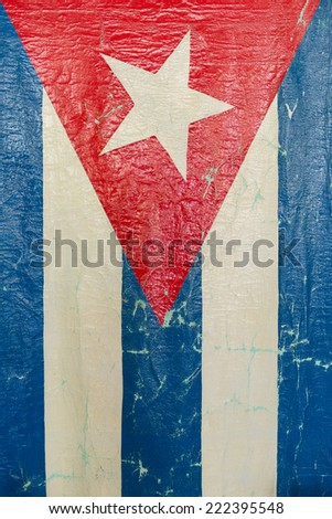 Grungy Cuban Flag. The flag of Cuba consists of five blue and white alternating stripes, and a red equilateral triangle at the hoist with a white 5-pointed star. - stock photo