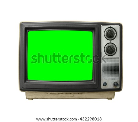 Grungy dirty old television on white with chroma key green screen. - stock photo