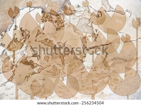 Grungy  distinctive    modern abstract design with geometric   motifs superimposed  on a  textured  background ideal for classic wallpapers and backgrounds. - stock photo