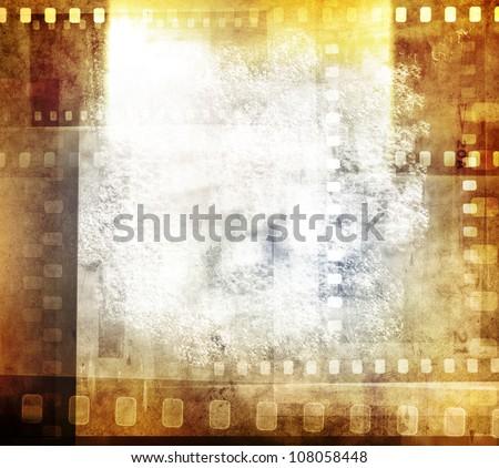 Grungy film negatives background, copy space - stock photo