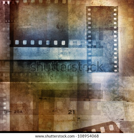 Grungy film negatives overlapping background - stock photo