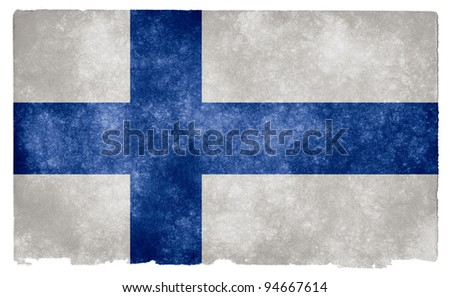 Grungy Finnish Flag on Vintage Paper - stock photo