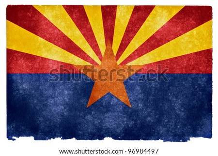 Grungy Flag of Arizona on VIntage Paper