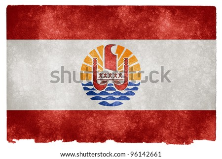 Grungy Flag of French Polynesia on Vintage Paper (a country including the island of Tahiti) - stock photo