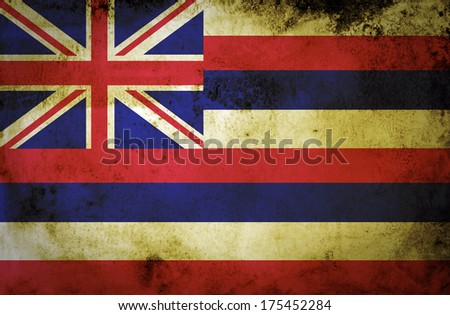 Grungy Flag of Hawaii on Vintage Paper  - stock photo
