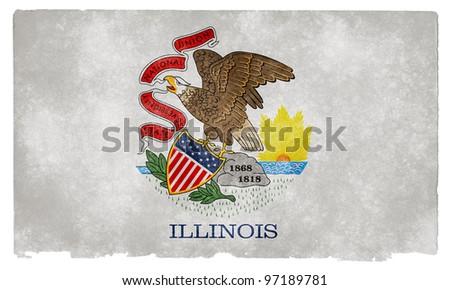 Grungy Flag of Illinois on Vintage Paper - stock photo