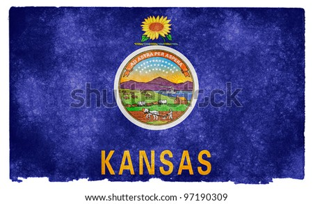 Grungy Flag of Kansas on Vintage Paper